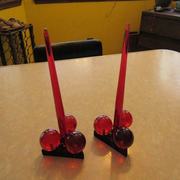 Mid Century Red Resin and Wood Candle Holders